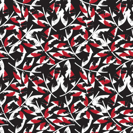 Red Tropical Leaf botanical seamless pattern background suitable for fashion prints, graphics, backgrounds and crafts Vetores