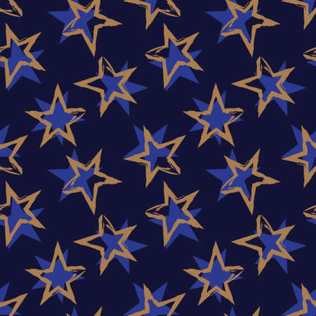 Blue Stars brush stroke seamless pattern background for fashion textiles, graphics