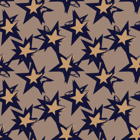 Brown Stars brush stroke seamless pattern background for fashion textiles, graphics 免版税图像 - 162138378