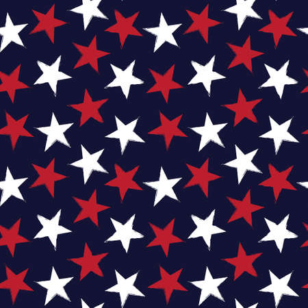 Red Navy Stars brush stroke seamless pattern background for fashion textiles, graphics 免版税图像 - 162138382