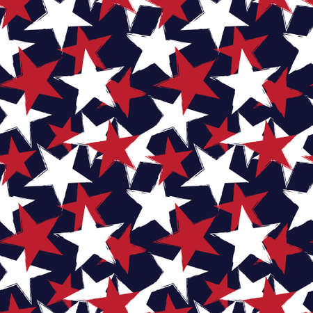 Red Navy Stars brush stroke seamless pattern background for fashion textiles, graphics 免版税图像
