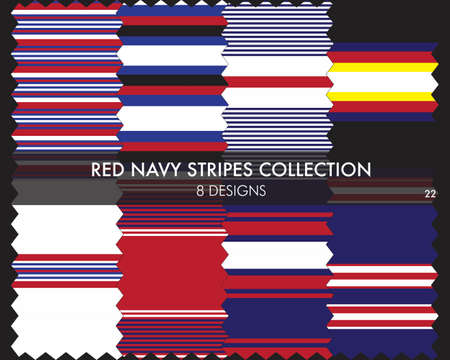 Red Navy striped seamless pattern collection includes 8 designs for fashion textiles, graphics