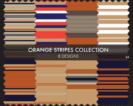 Orange striped seamless pattern collection includes 8 designs for fashion textiles, graphics Ilustracja