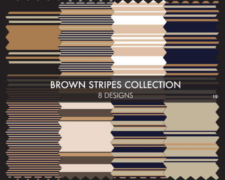 Brown striped seamless pattern collection includes 8 designs for fashion textiles, graphics