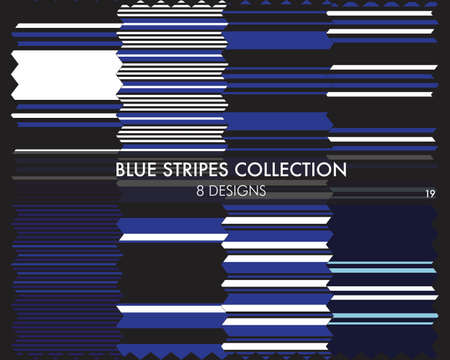 Blue striped seamless pattern collection includes 8 designs for fashion textiles, graphics