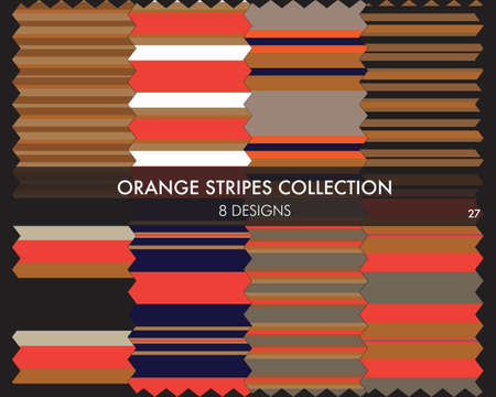 Orange striped seamless pattern collection includes 8 designs for fashion textiles, graphics