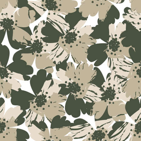 Green Floral brush strokes seamless pattern background for fashion prints, graphics, backgrounds and crafts