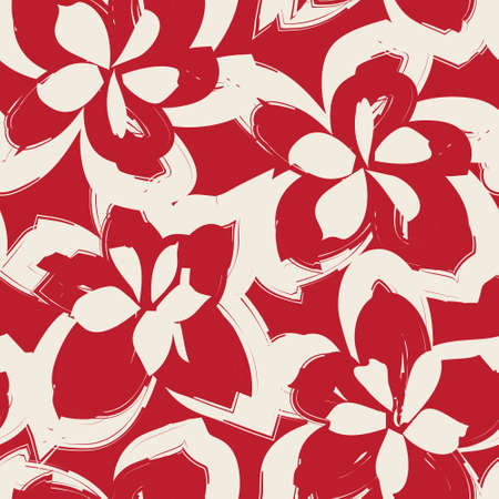 Red Floral brush strokes seamless pattern background for fashion prints, graphics, backgrounds and crafts