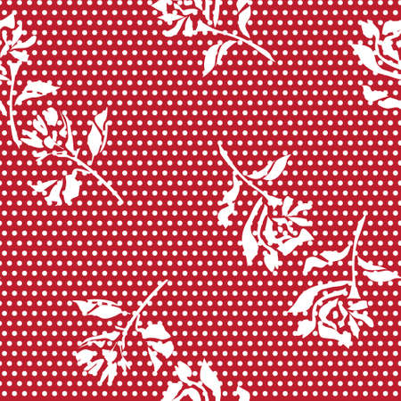 Red Floral tropical botanical seamless pattern dotted background for fashion textiles and graphics