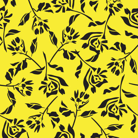 Yellow Floral botanical seamless pattern background suitable for fashion prints, graphics, backgrounds and crafts