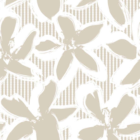 Brown Floral tropical botanical seamless pattern with striped background for fashion textiles and graphics