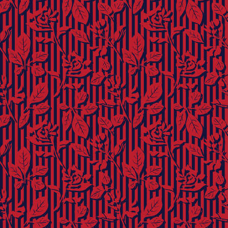 Red Navy Floral tropical botanical seamless pattern with striped background for fashion textiles and graphics Ilustracja
