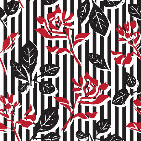 Red Floral tropical botanical seamless pattern with striped background for fashion textiles and graphics