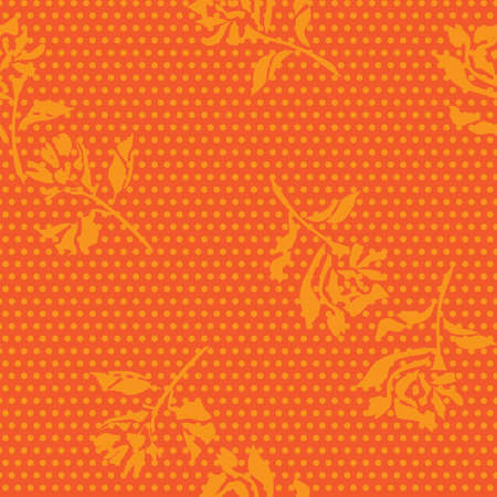 Orange Floral tropical botanical seamless pattern dotted background for fashion textiles and graphics