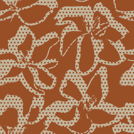 Brown Floral tropical botanical seamless pattern dotted background for fashion textiles and graphics