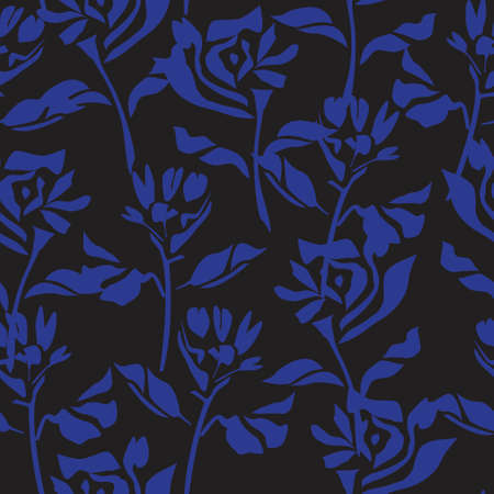 Blue tropical floral botanical seamless pattern background suitable for fashion prints, graphics, backgrounds and crafts