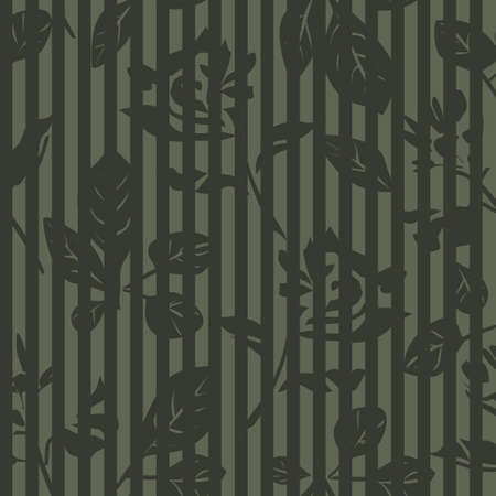 Green Floral tropical botanical seamless pattern with striped background for fashion textiles and graphics