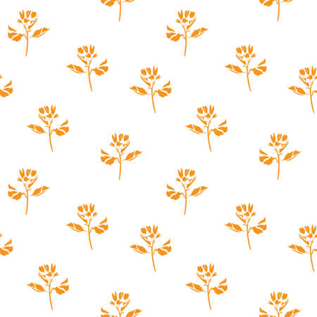 Orange Floral botanical seamless pattern background suitable for fashion prints, graphics, backgrounds and crafts Ilustracja