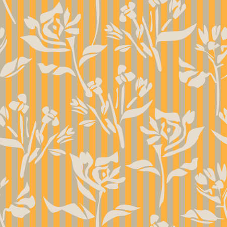 Orange Floral tropical botanical seamless pattern with striped background for fashion textiles and graphics