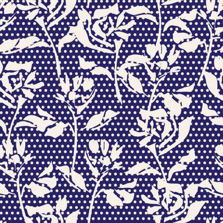 Blue Floral tropical botanical seamless pattern dotted background for fashion textiles and graphics