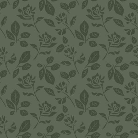 Green Floral botanical seamless pattern background suitable for fashion prints, graphics, backgrounds and crafts
