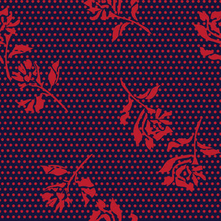 Red Navy Floral tropical botanical seamless pattern dotted background for fashion textiles and graphics