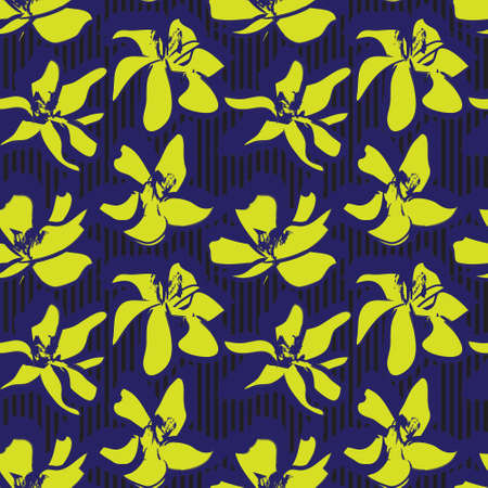 Yellow Floral tropical botanical seamless pattern with striped background for fashion textiles and graphics