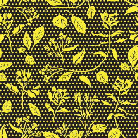 Yellow Floral tropical botanical seamless pattern dotted background for fashion textiles and graphics