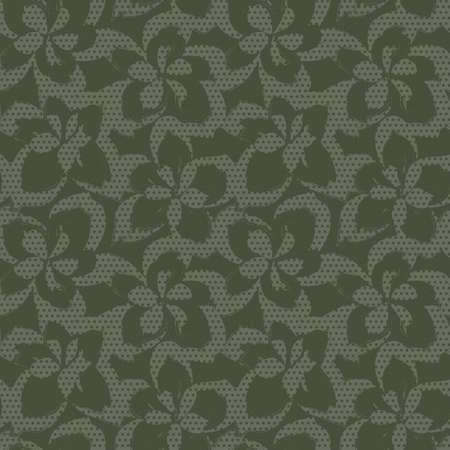 Green Floral tropical botanical seamless pattern dotted background for fashion textiles and graphics