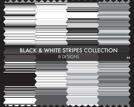 Black and White striped seamless pattern collection includes 8 designs for fashion textiles, graphics
