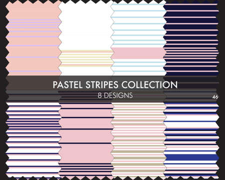Pastel striped seamless pattern collection includes 8 designs for fashion textiles, graphics