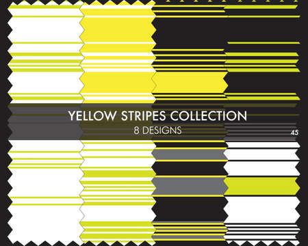Yellow striped seamless pattern collection includes 8 designs for fashion textiles, graphics