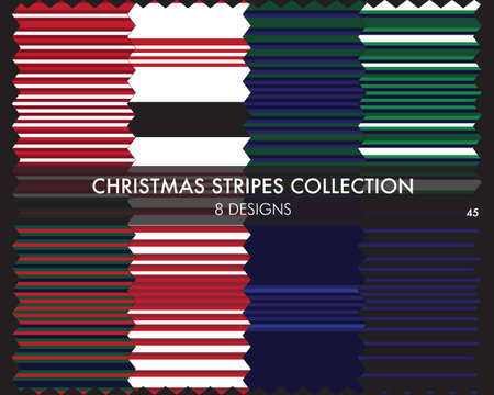 Christmas striped seamless pattern collection includes 8 designs for fashion textiles, graphics 矢量图像