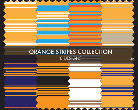 Orange striped seamless pattern collection includes 8 designs for fashion textiles, graphics 矢量图像