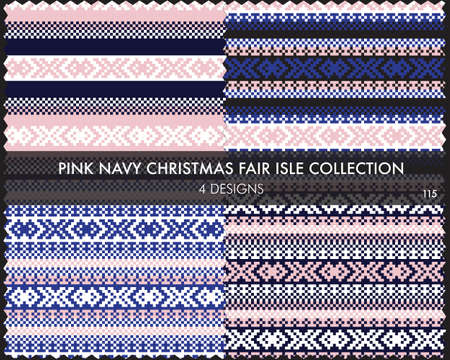 Pink Navy Christmas fair isle pattern collection includes 4 design swatches for fashion textiles, knitwear and graphics