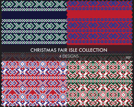 Christmas fair isle pattern collection includes 4 design swatches for fashion textiles, knitwear and graphics Ilustración de vector