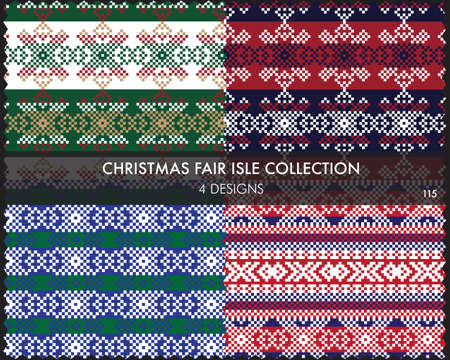 Christmas fair isle pattern collection includes 4 design swatches for fashion textiles, knitwear and graphics