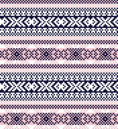 Pink Navy Christmas fair isle pattern background for fashion textiles, knitwear and graphics Ilustración de vector