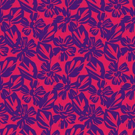 Purple Floral botanical seamless pattern background