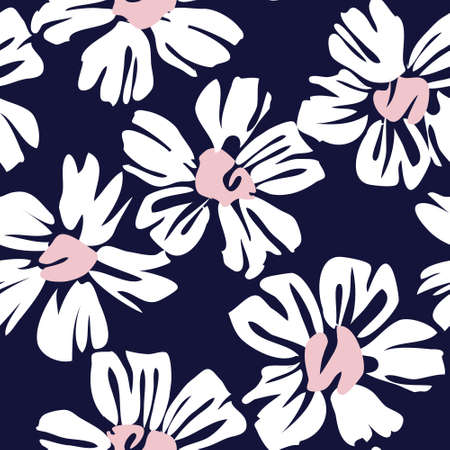 Pink Navy Floral botanical seamless pattern background suitable for fashion prints, graphics, background and crafts