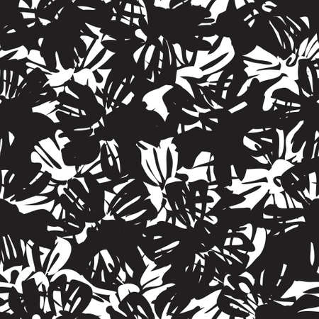 Black and white Floral botanical seamless pattern background for fashion prints, graphics, background and crafts Vector Illustration