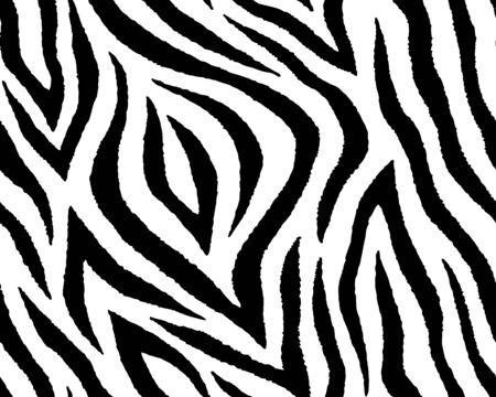 Pełna bezszwowa tapeta na wzór skóry zwierzęcej w paski zebry i tygrysa. Czarno-biały wzór do nadruku na tkaninach. Modny i domowy krój.
