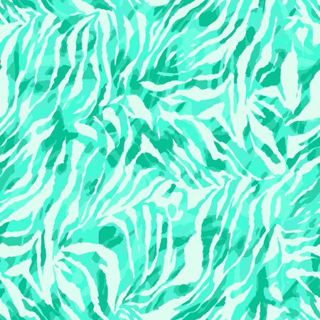 Full seamless wallpaper for zebra and tiger stripes animal skin pattern. White and turquoise design for textile fabric printing. Fashionable and home design fit.