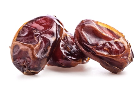 sundried: Sun-dried dates fruit on white background