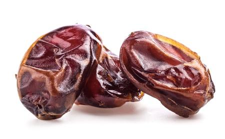 jujube fruits: Sun-dried dates fruit on white background