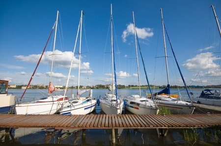 Yachts moored in marina, Masuria, Poland Stock Photo - 12565927