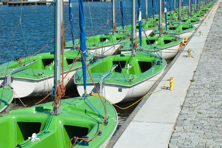 Group of sailboats moored in port, Masuria, Poland photo