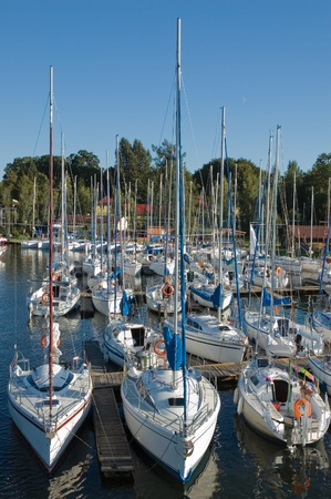 Yachts moored in marina, Masuria, Poland photo