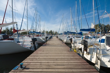 Yachts moored by the jetty photo