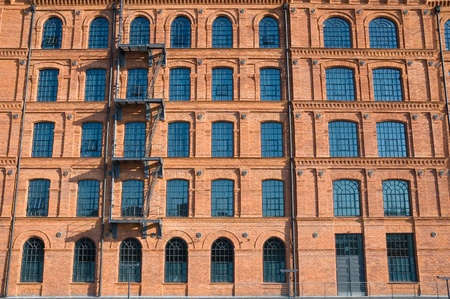 redbrick: Historic textile factory building in Lodz, Poland Stock Photo